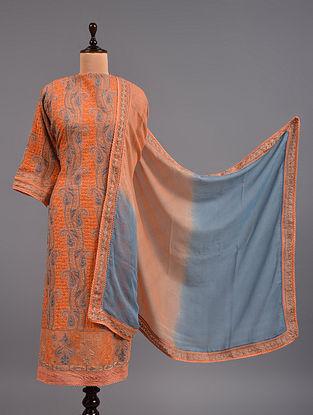 Orange Chikankari Kota Doria Suit