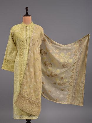 Yellow Chikankari Kota Doria Suit