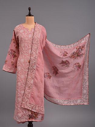 Pink Chikankari Jute And Organza Suit