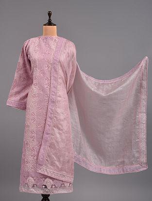 Pink Chikankari Organza Suit