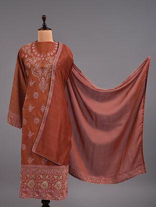 Orange Chikankari Cotton Suit