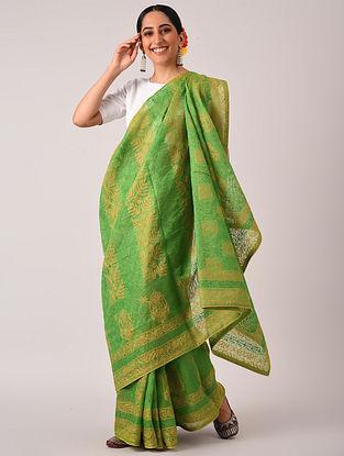 Green  Chikankari Organza Saree