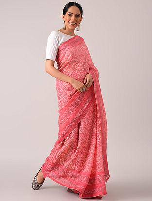 Pink  Chikankari Organza Saree