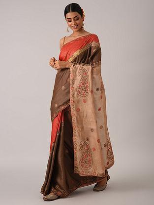 Brown Chikankari Cotton Silk Saree