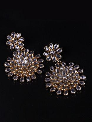 Gold Crystal Kundan Silver Earrings