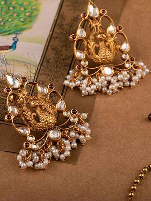 Gold Tone Cystal Kundan Earrings with Pearls