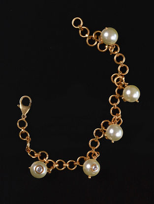 Gold Cystal Polki Silver Bracelet With Pearls
