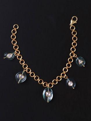 Gold Green Cystal Polki Silver Bracelet With Fluorite
