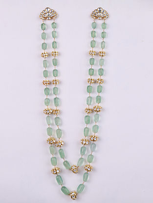 Gold Tone Cystal Polki Necklace with Fluorite