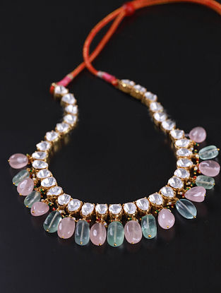 Gold Pink Green Cystal Polki Silver Necklace with Rose Quartz and Fluorite