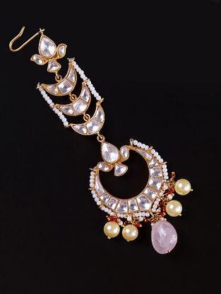 Gold Pink Cystal Polki Silver Maangtika with Rose Quartz and Pearls