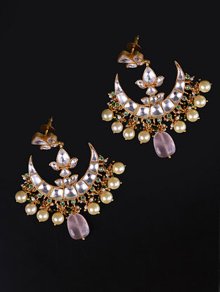 Gold Green Cystal Polki Silver Earrings With Pearls And Rose Quartz