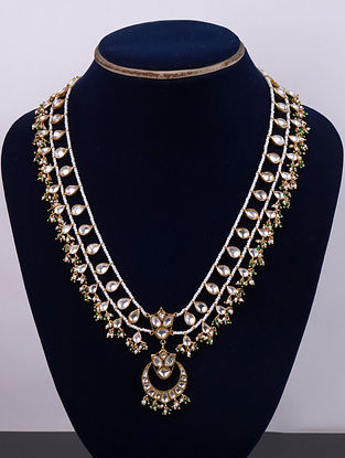 Gold Tone Cystal Polki Necklace with Pearls And Green Onyx