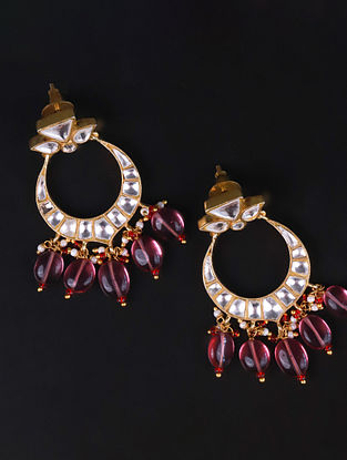 Gold Pink Cystal Polki Silver Earrings with Ruby