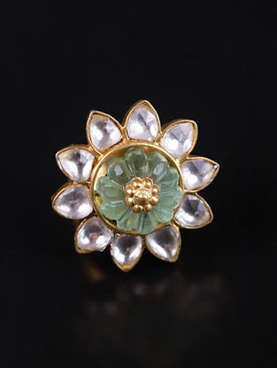 Gold Green Cystal Polki Adjustable Silver Ring with Fluorite