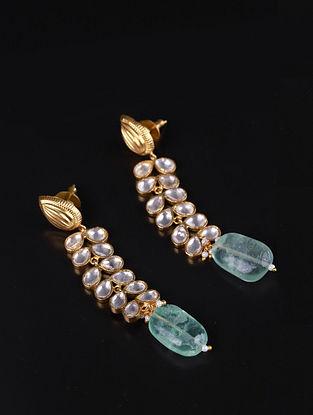 Gold Green Cystal Polki Silver Earrings With Fluorite