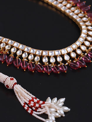 Gold Pink Cystal Polki Silver Necklace With Ruby