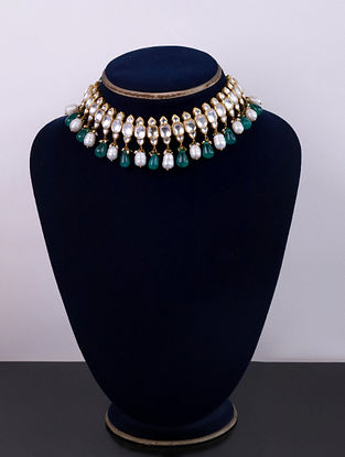Gold Green Cystal Polki Silver Necklace Set With Pearls And Green Onyx
