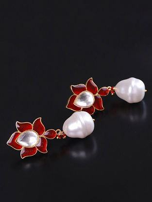 Red Gold Meena Silver Earrings