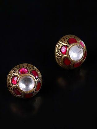 Gold Pink Cystal Polki Silver Earrings