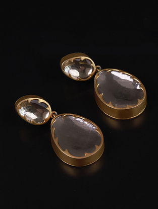 Gold Tone Mosonite Polki Silver Earrings