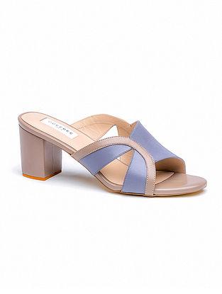 Blue Nude Handcrafted Genuine Leather Block Heels