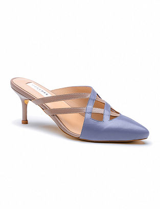 Blue Nude Handcrafted Genuine Leather Pencil Heels