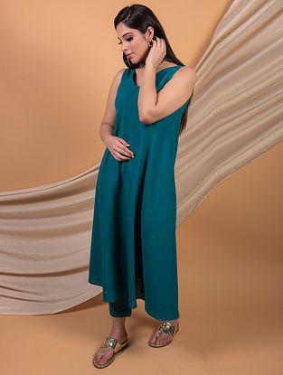 Teal Blue Cotton Linen Dress with Pants