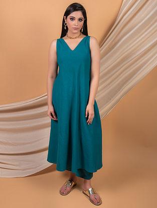 Teal Blue Cotton Linen Dress