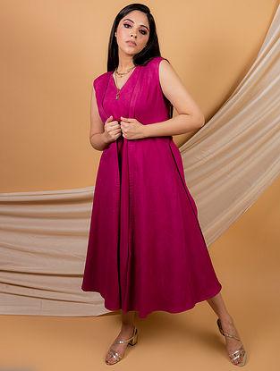 Magenta Cotton Linen Dress with Cape