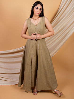 Olive Green Cotton Linen Jumpsuit with Cape