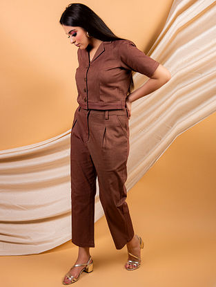 Brown Cotton Twill Pants