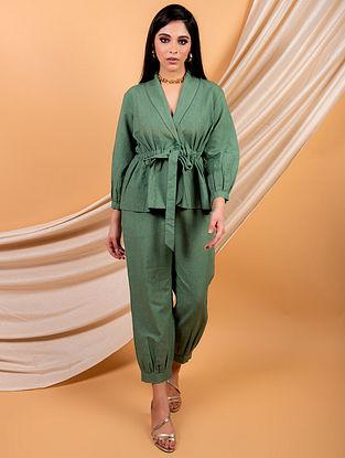 Green Cotton Linen Top