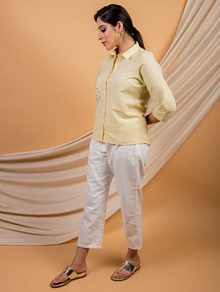 White Cotton Linen Shirt Pants