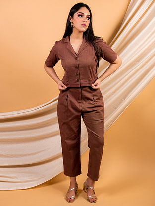 Brown Cotton Twill Shirt with Pants