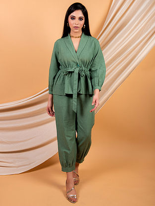 Green Cotton Linen Top with Pants