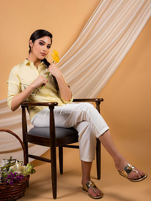 Yellow Cotton Linen Shirt with White Pants