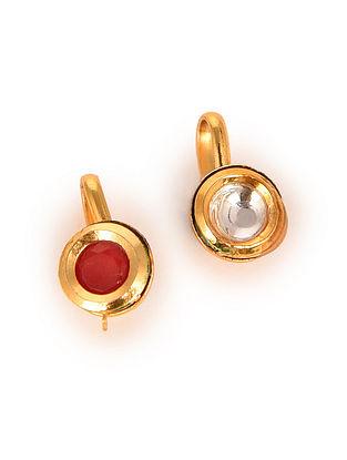 White Red Gold Tone Kundan Nose Clip Set