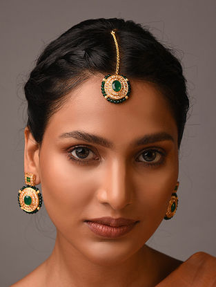 Green Gold Tone Handcrafted Earrings With Maangtikka