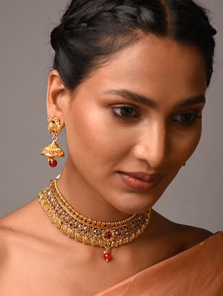 White Red Gold Tone Kundan Necklace With Earrings