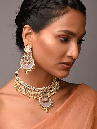 White Grey Gold Tone Kundan Enameled Necklace With Earrings