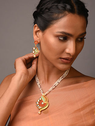 White Red Gold Tone Kundan Enameled Necklace With Earrings