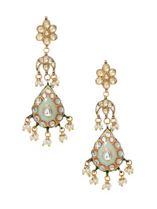 Turquoise White Gold Tone Enameled Earrings With Pearls