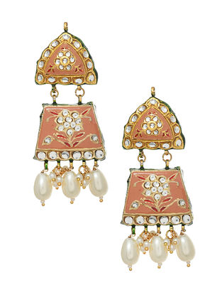 Peach White Gold Tone Enameled Earrings With Pearls