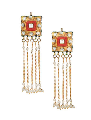 Red White Gold Tone Enameled Earrings With Pearls