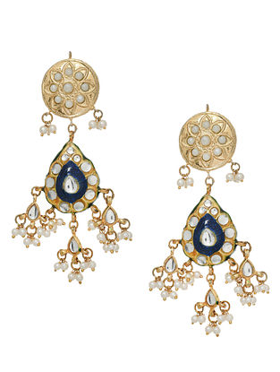 Blue White Gold Tone Enameled Earrings With Pearls