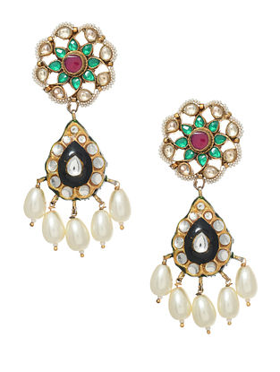 Multicolored Gold Tone Enameled Earrings With Pearls
