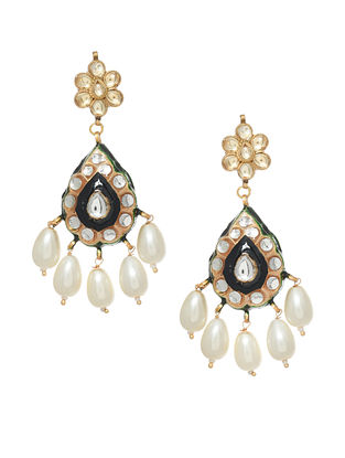Black White Gold Tone Enameled Earrings With Pearls