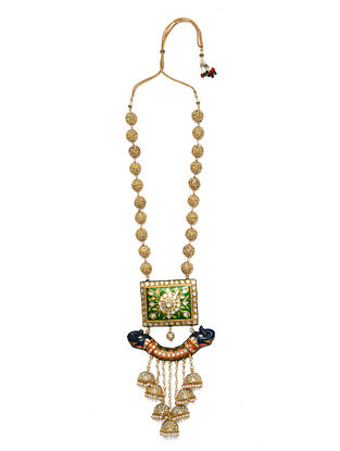 Green Gold Tone Enameled Necklace With Pearls