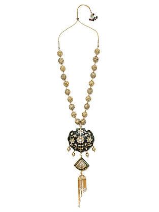 Black White Gold Tone Enameled Necklace